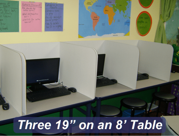 "Computer Privacy Shields - three 19"" shields on an 8' table"