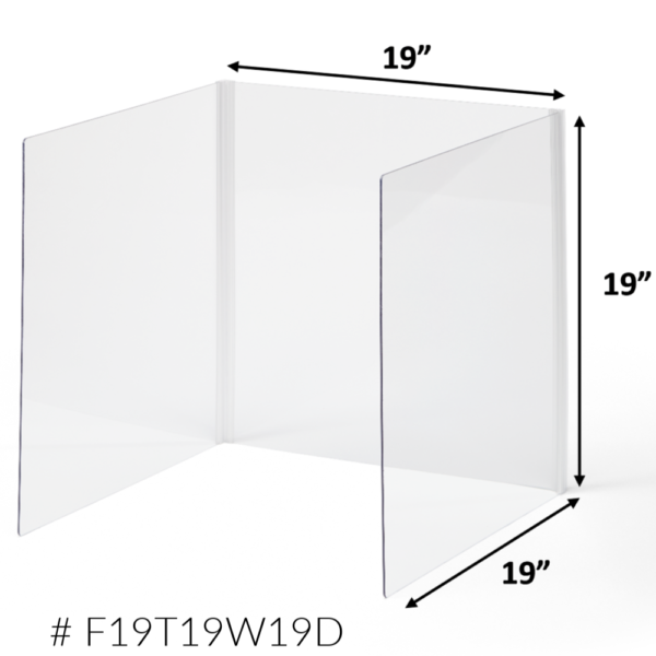 3-Sided Clear Privacy Shield Dimensions 19-inch F19T19W19D
