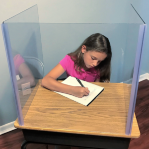 Sneeze Guard for Classroom Social Distancing. School Desks or Tables. Crystal Clear. Three Sides. In Stock Now!