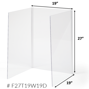 Sneeze Guards for Classrooms – Clear Plexiglass Protective Barrier / Tall Cough Shield Cubicle (Available in 3 Sizes) – F27T19W19D