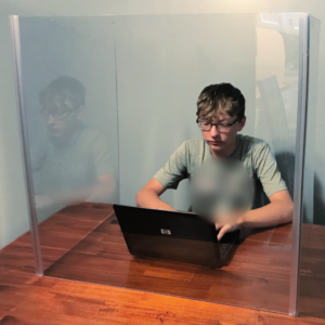 Sneeze Guard for Classrooms – Clear Plexiglass Protective Barrier / Tall Cough Shield Cubicle (Available in 3 Sizes)