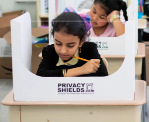 Cough Guard and Sneeze Guard for Schools and Classrooms – 100 % Cleanable Plastic Privacy Shield – Clear See-Through Plastic Window in Front – In Stock Now!