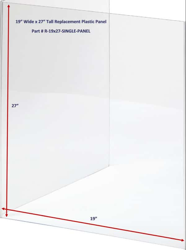 19 x 27 Clear Replacement Panel - Sneeze Guard